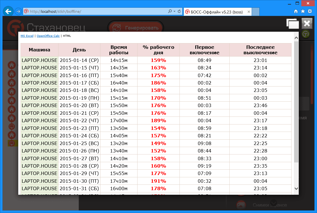 БОСС-Оффлайн - Машинное время